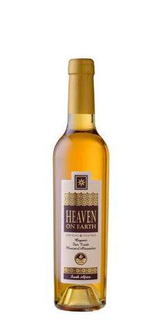 A 750ml bottle of Stellar Organics' Heaven on Earth, a natural sweet dessert wine.